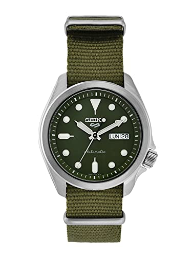 Seiko 5 deportes esfera verde verde correa de nylon reloj de los hombres SRPE65K1
