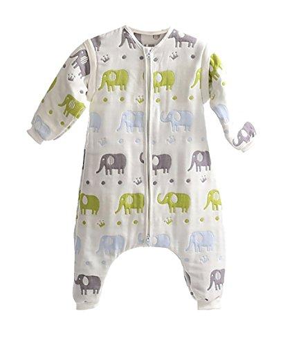 DaiShuGuaiGuai Baby Ganzjahres Schlafsack mit Füßen (Mehrfarbig) (Elefant) (L 85-95CM)