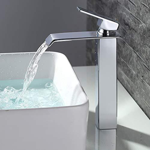 HOMELODY Wasserhahn Bad Hohe Wasserfall, Eckig Badarmatur Waschtischarmatur Einhebelmischer Mischbatterie, Waschbeckenarmatur Waschtischbatterie Armatur für Badezimmer Chrom