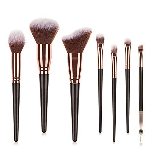 7 brochas de maquillaje para base, delineador de ojos, colorete cosmético, corrector, mini brochas de maquillaje, mango brillante, portátil, suave y funcional, juego de maquillaje para el cabello