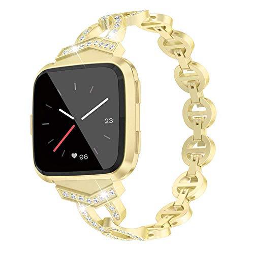 XIALEY Bling Band Compatible con Fitbit Versa 3 / Sense, Correas De Repuesto para Mujer Correa De Reloj Pulsera De Metal De Acero Inoxidable Compatible con Versa 3 / Sense,Oro