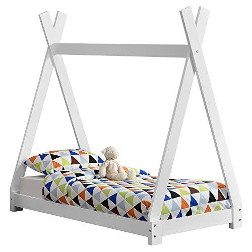 [en.casa] Cama para niños pequeños Cama Infantil 140 x 70cm Estructura Tipi de Madera Pino Blanco Mate