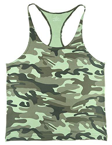 Herren Fitnessstudio Stringer Unterhemd Bodybuilding Trainieren Muskelshirt Baumwolle Grüne Tarnung XL