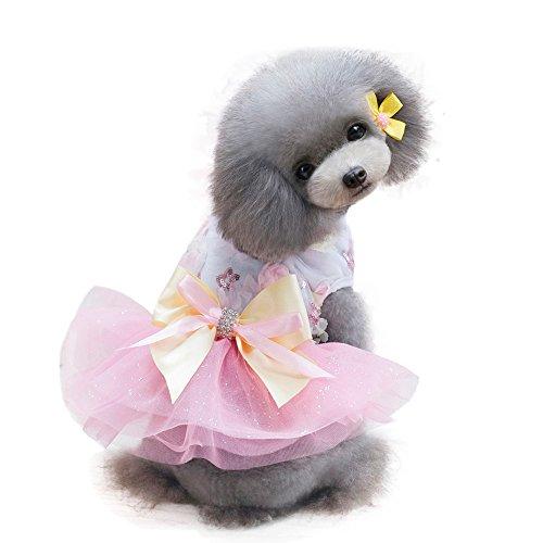 Vestido de princesa para mascotas, de hilo de red, con arco, bordado de flores, para perros y mascotas, color rosa, XL