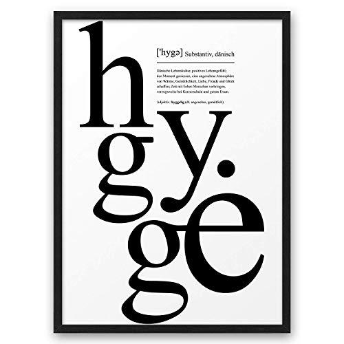 HYGGE II Definition ABOUKI Kunstdruck Poster Bild Geschenk-Idee für Sie Ihn Frauen Männer Freund Freundin Liebes-Paar optional mit Holz-Rahmen
