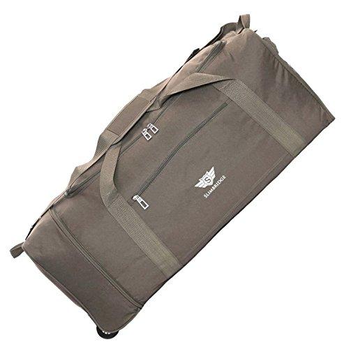 Slimbridge Große Reisetasche Rollenreisetasche XL Trolley Gepäcktasche mit Rollen - 87 Liter 80 cm 950 Gramm Faltbare auf 2 Rädern, Havant Braun Grau