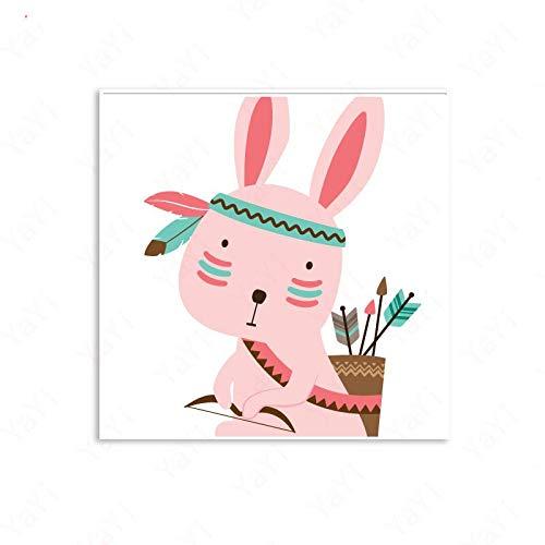 Cartoon Indian Style Muster Nette Kaninchen Hirsch Vogel Löwe Kinderzimmer Kinderzimmer Home Decor Poster Wohnzimmer Leinwand Malerei 60 * 80cm