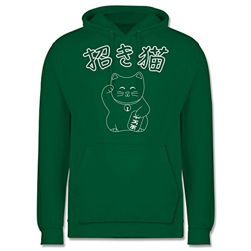 Shirtracer Katzen - Winkekatze- Japanisch - XS - Grün - japanische Schriftzeichen Hoodie Herren - JH001 - Herren Hoodie und Kapuzenpullover für Männer