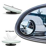 Retrovisores de ángulo muerto, Espejo gran angular de vidrio real 360 ° ajustable, 50 mm de diámetro, para todos los automóviles SUV camiones motocicletas (2 piezas)