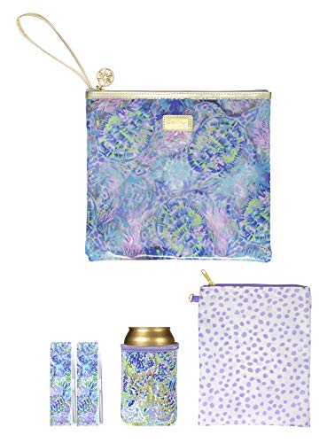 Lilly Pulitzer Purple/Blue/Green Water Resistant Vinyl Beach Day Pouch - Includes Drink Hugger, Zip Pouch, and Towel Clips, Shell of a Party