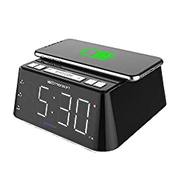 """Emerson Radio ER100104 Wireless Charging Alarm Clock with Temperature Detector, Night Light, USB Charging and 1.2"""" White LED Display"""