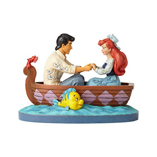 Enesco Disney Traditions by Jim Shore The Little Mermaid Ariel and Prince Eric in Rowboat Figurine, 6.126 Inch, Multicolor