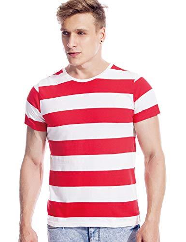 Zbrandy Bretonisches Hemd für Herren, gestreift, Matrosen-Top, kurzärmelig Gr. M, Rot und Weiß gestreift