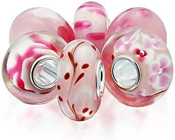 Bling Jewelry Baby Pink Floral Mezcla De Cristal De Murano 6 Core Abalorio Separador El Encanto Pulsera Europea Mujer Adolescente