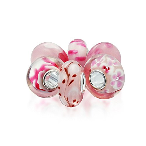Bling Jewelry Baby Pink Floral Mezcla De Cristal De Murano 6 Core...