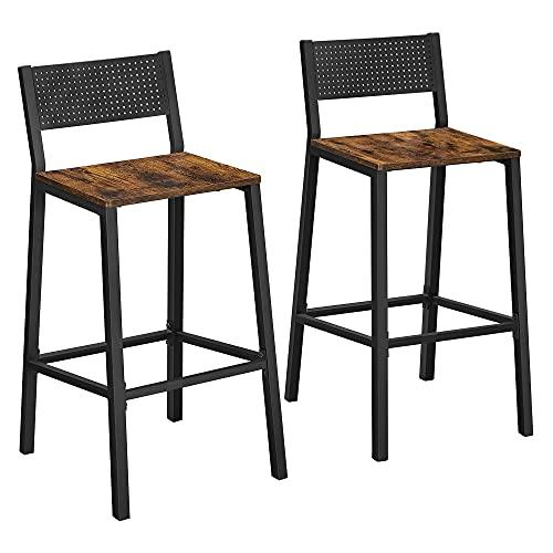 VASAGLE Juego de 2 Taburetes de Bar, Sillas Altas, para Cocina, Comedor, Oficina, Estilo Industrial, Marrón Rústico y Negro LBC070B01