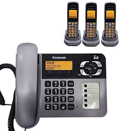 ZYFA Teléfono Fijo 2 en 1 Combo de teléfono inalámbrico/con Cable, intercomunicador Gratuito, Llamadas de Tres vías, 2 configuraciones de Idioma, fácil operación, compatibilidad de audífonos