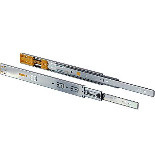 Gedotec Schubladenschienen Vollauszug 350 mm Kugelführung mit Soft-Closing Dämpfung   Tragkraft bis 30 kg   Teleskopschiene mit Push-top-Open Ausfahreinrichtung   1 Paar - Auszüge für Küchen-Schränke