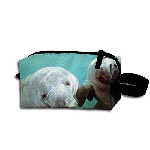 Pair of Manatee Doug Perrine Ocean Animal Travel Bag Printed Multifunction Portable Toiletry Bag Cosmetic Makeup Pouch Case Organizer for Travel.
