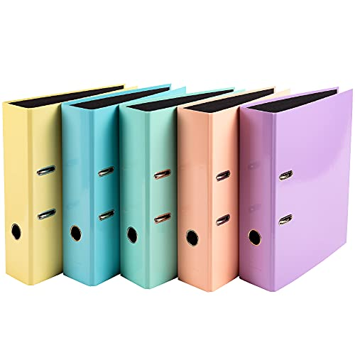 5 Classeurs à levier gamme Aquarel, Dos 80mm 5 couleurs, bleu pastel, mauve, jaune, vert pastel et corail.