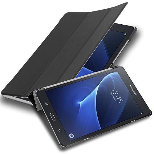 Cadorabo Funda Tableta para Samsung Galaxy Tab A 2016 (7.0' Zoll) SM-T280N in Negro SATÉN – Cubierta Proteccíon Bien Fina en Cuero Artificial en Estilo Libro SIN Auto Wake Up e Función de Suporte