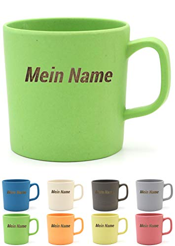 Magu Kaffeebecher mit Henkel mit Namen personalisierte Bambus Namens-Tasse - Individuelle Namensgravur 463 - naturgrün