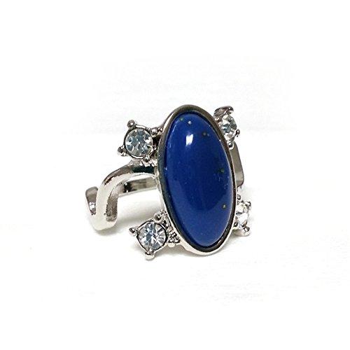 Anillo Elena de plata y cristal de zafiro luminoso; diseño inspirado en «Crónicas vampíricas»; para hombre o mujer.