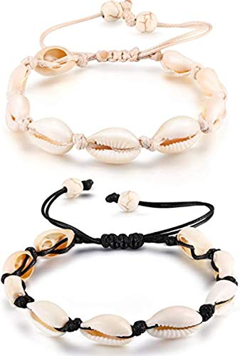 2 Pieces Adjustable Shell Bracelets Anklets Set Natural Cowrie Shell Beads Puka Seashells Ankle Jewelry for Men Women