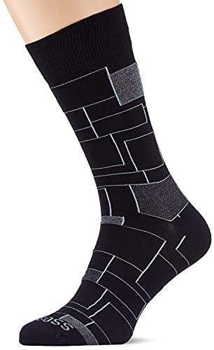 BOSS Herren RS Block Lines CC Klassische Socken, Black1, 43-46
