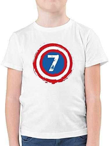 Kindergeburtstag Geschenk - Superhelden Schild Geburtstag 7-152 (12/13 Jahre) - Weiß - Geburtstagszahl - F130K - Kinder Tshirts und T-Shirt für Jungen