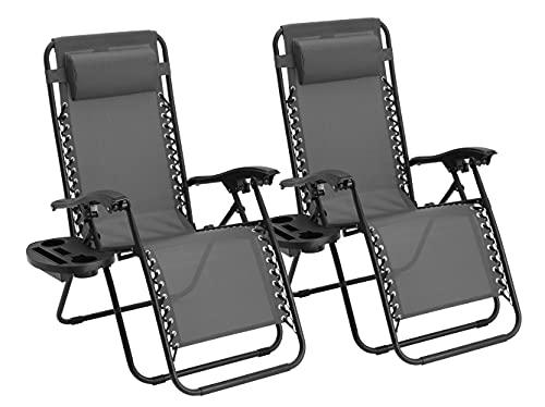 Straame Zero Gravity Stuhl | 2 Stück | Schwerlast-Textoline | Outdoor & Garten Sonnenliegen | Liegestuhl & Klappstuhl (grau)