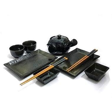 MySushiSet - 9 Piece Black Mist Sushi and Tea Set for Two