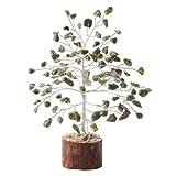 PYOR Green Aventurine Feng Shui Bonsai Money Tree Gemstone Good Luck Home Decor Reiki Healing Crystal Aura Silver Wire 7-8 Inch