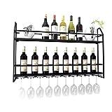 Vinoteca Organize Kitchen Estante para Vinos Montado En La Pared Dorado/Negro |Porta Vino para 7 Botellas Estilo Nórdico |Estantes para Copas De Vino Estante para Cubiletes |Estantes De Exhibici