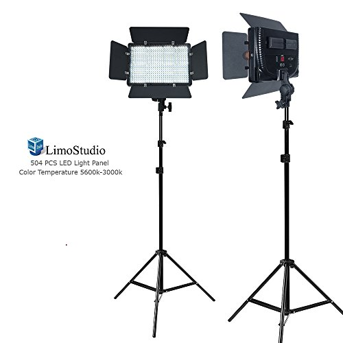 LimoStudio [2 Pack] LED Barn Door Light Panel, Dimmable Brightness Control, Color Temperature Control, Continuous Lighting Kit, AC Power Cord, Light Stand Tripod, AGG2225V2