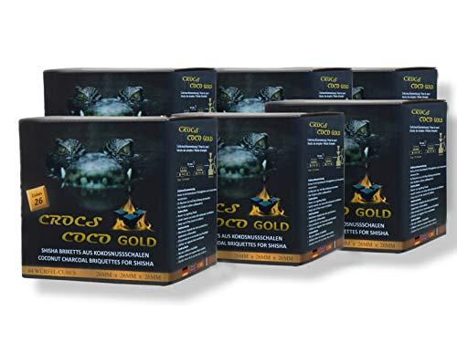 CROCS COCO Gold I Kokosnuss Kohle mit Langer Brenndauer I Grillkohle 26x26mm I wenig Asche I geringer Rauchentwicklung I Nachhaltige Naturkohle I Kohle Würfel in Premium Qualität I 6kg