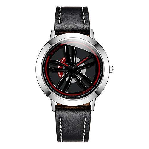 SANDA Relojes Mujer,Nuevo Concepto Creativo, llega el Momento de Correr Reloj Tendencia de la Moda estudiantil Masculina Reloj Simple de Cuero Impermeable para Hombres-Negro y Plata