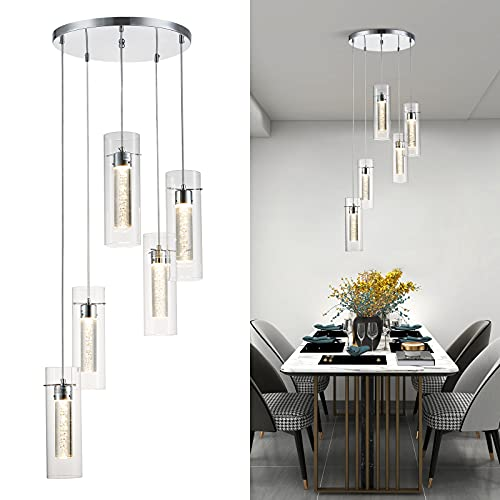 ZHLWIN Pendant Ceiling Light Fixture for Kitchen Island, Integrated LED Hanging Light with Crystal Bubble Glass 60W, 4500K Neutral White Light for Kitchen, Restaurant, Dining Room(5 Light)