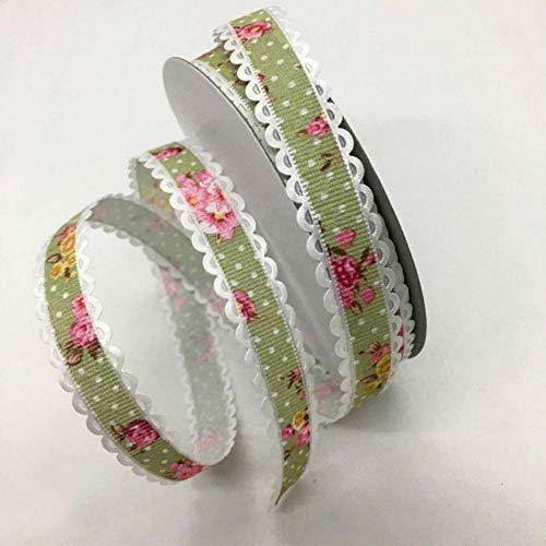 5Y 1.5 - 2.5cm Cinta en relieve con estampado de flores para manualidades hechas a mano Pascua Fiesta de matrimonio Álbum de recortes Deco Regalo Embalaje floral-China, UR18-2 (1.5cm), 5 yardas