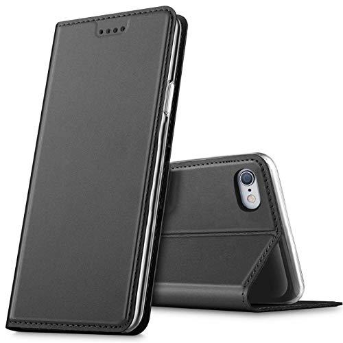 Verco Handyhülle für iPhone 6S Plus, Premium Handy Flip Cover für Apple iPhone 6 Plus Hülle [integr. Magnet] Book Hülle PU Leder Tasche (5,5 Zoll), Schwarz
