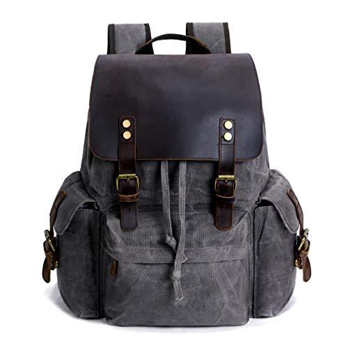 "SUVOM Vintage Canvas Genuine Leather Laptop Backpack for Men School Bag 15.6"" Water Resistant Travel Rucksack (Grey)"
