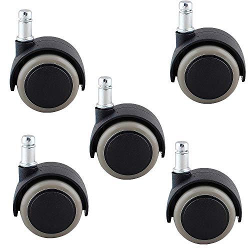Poweka Rollen für Bürostuhl, 11 mm/50 mm, für harte Böden, Drehrollen für Bürostühle, Rollen für Drehstühle (5 Stück)