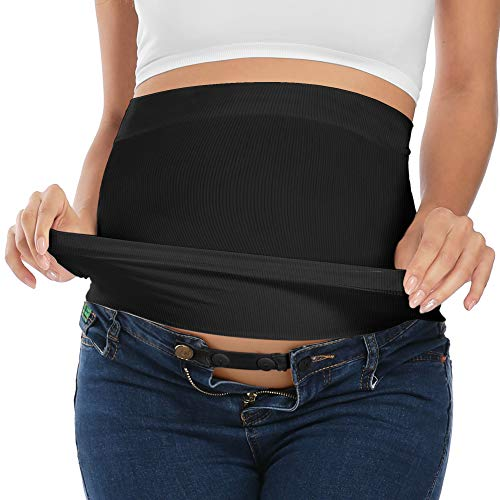 Maternity Belly Band with Waist Extender Black M