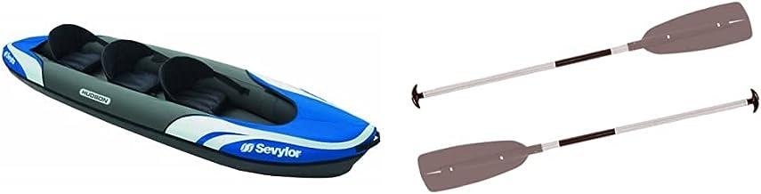 Sevylor Hudson Inflatable Kayak, Three Person - Blue & Convertible Paddle - Aluminium/Black