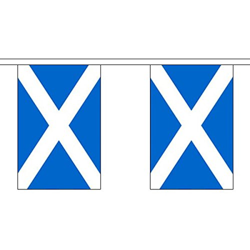 """Flag Co 9 Metres 30 (9"""" X 6"""") Scotland Scottish St Andrews Saltire 100% Polyester Material Bunting Ideal Party Decoration for Street House Pubs Clubs Schools St Andrews Day"""