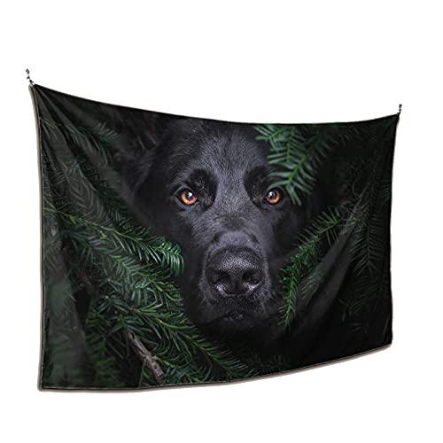 Trippy Tapiz lindo perro negro tapices para dormitorio estético HD cuadro pintura arte impresiones decoración de pared lienzo ilustraciones regalo de cumpleaños único para niños