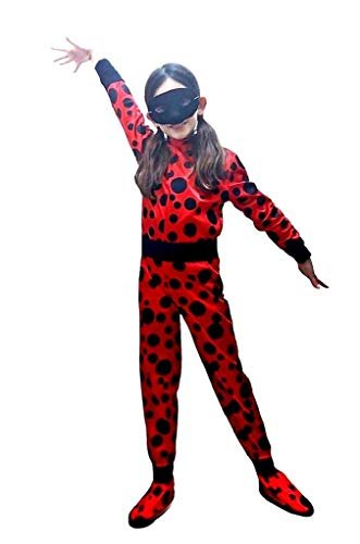 Costume Ladybug Bambina Vestito Carnevale Coccinella Lady Bug Colore Rosso (Taglia 6°) 7-8 Anni Travestimento Cosplay Ottimo Regalo Per Natale O Compleanno
