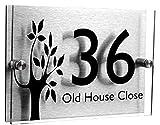 XIN NA RUI Señal de número de casa de 200 x 140 mm, acrílico con número de casa (árbol pequeño), placa de nombre para puerta