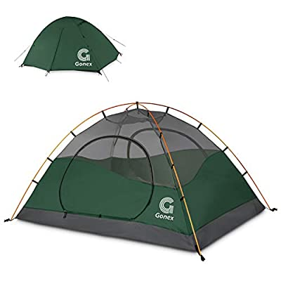 Gonex Camping Tent 1 to 4 Person, Waterproof Windproof Dome Backpacking Tent for Camping Hiking Mountaineering Backyard, Dark Green