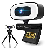 2021 UP to 4K Webcam with Light Ultra HD UHD PRO Live Streaming USB Web CAM Built in Noise Cancelling Microphones Adjustable Touch Light Webcam Camera for PC Computer MAC Laptop Desktop with Tripod